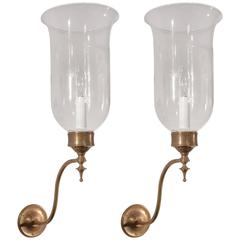 Pair of 19th Century English Hurricane Wall Sconces