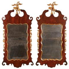 Pair of Chippendale Parcel Gilt Mahogany Mirrors