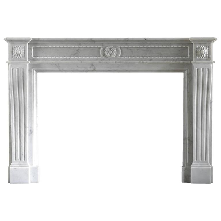 18th Century Louise XVI Reproduction Mantelpiece Carved in Marble