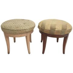 Pair of Custom Paul Frankl Swivel Stools from a Documented Frankl Interior