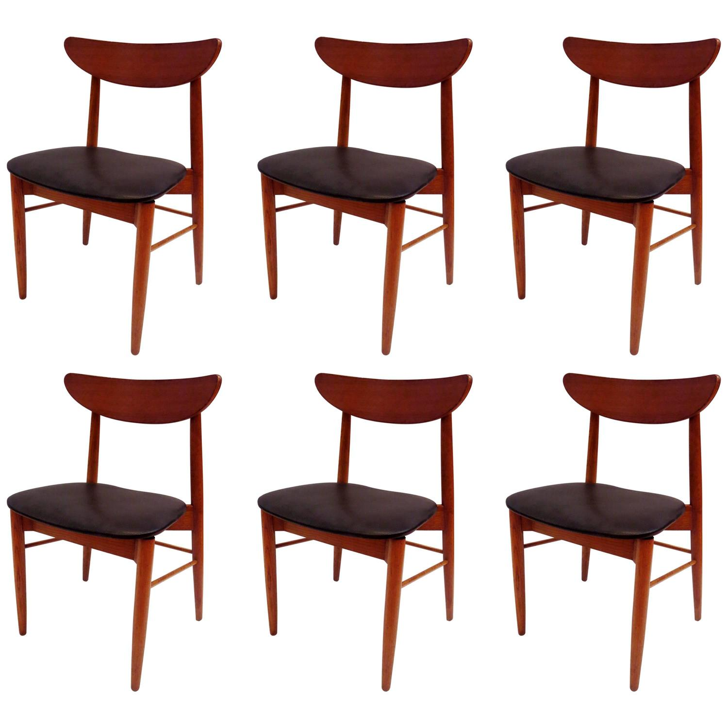 Classic mid century danish modern set of six curved back for Designer dinette sets