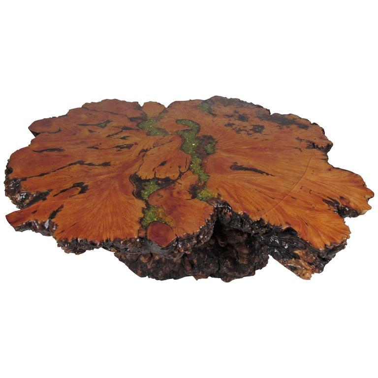 Burl Wood Free Edge Coffee Table