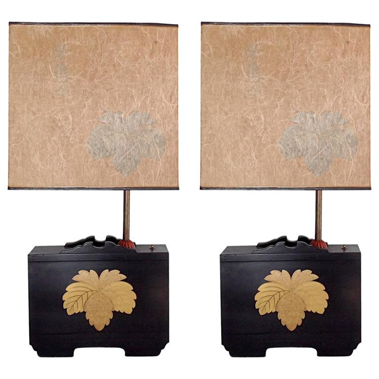 Pair of Art Deco Lacquered Table Lamps in the Japanese Taste 1