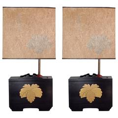 Pair of Art Deco Lacquered Table Lamps in the Japanese Taste