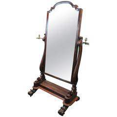 1850s English Mahogany Cheval Glace Mirror