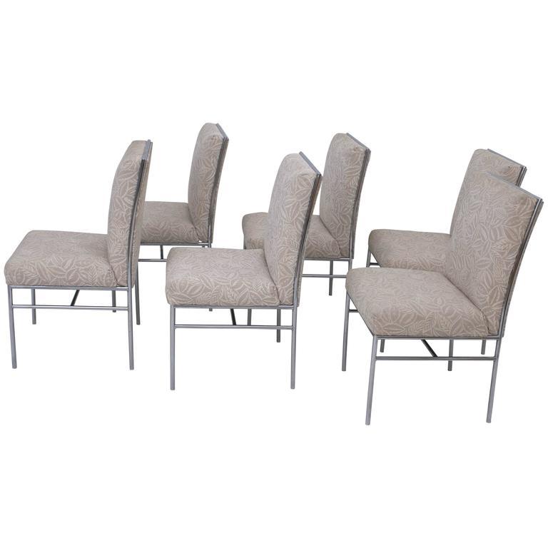 Set of Six Chrome Milo Baughman Style Dining Chairs Original Fabric
