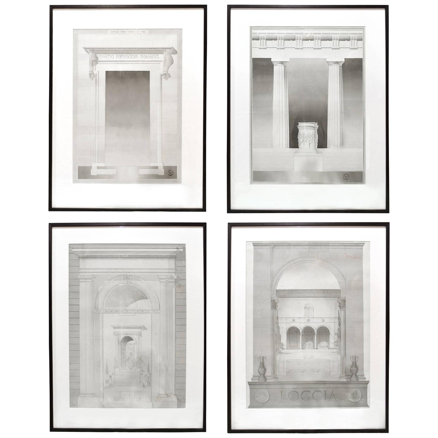 Set Of Four Architectural Drawings For Sale At 1stdibs