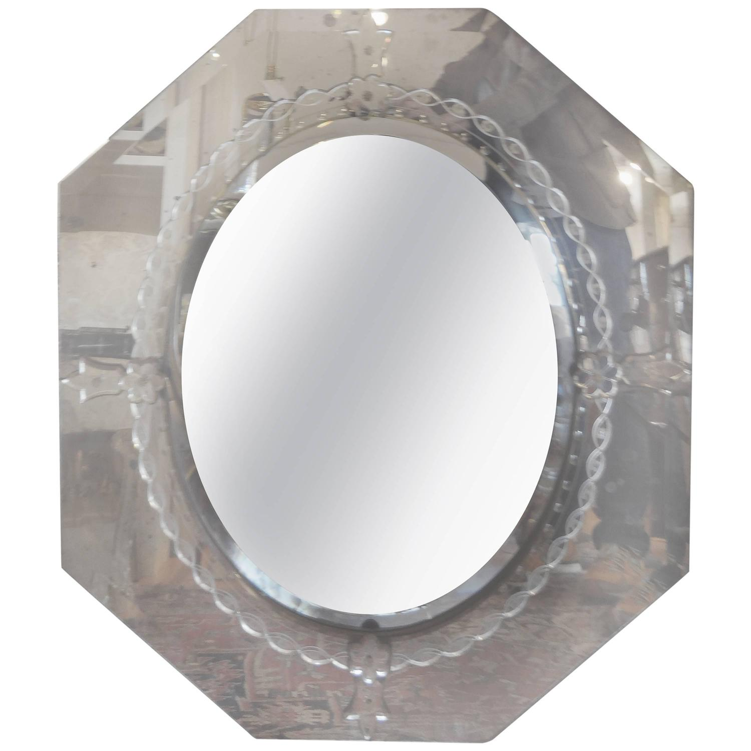 Octagonal beveled and etched vintage venetian glass mirror for Octagon beveled mirror