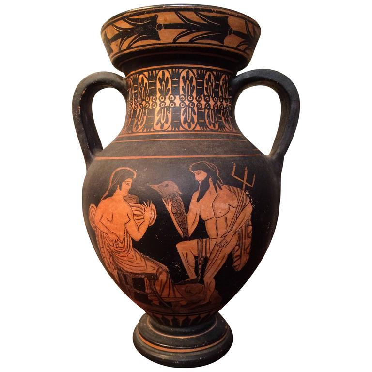 Classical Style Greek Vase with Neptune