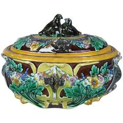 Wedgwood Majolica Pottery Quail Lovebirds Game Pie Lidded Tureen, dated 1872