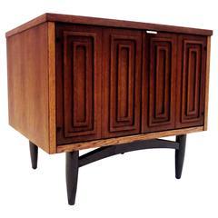 Geometric American Modern Midcentury Single Walnut Petite Cabinet, Nightstand