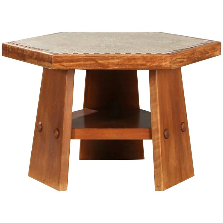 Beech coffee table with mosaic inlays by a danish for Beech coffee table
