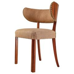 Danish Mahogany and Wool Side Chair with Curved Backrest, 1930s