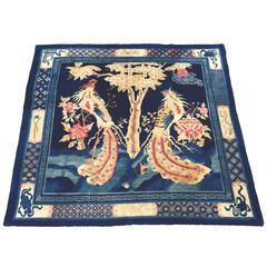 Antique Blue 19th Century Peking Chinese Ceremonial Carpet with Phoenix Birds