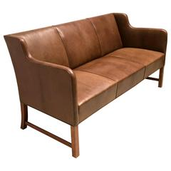 Settee in Dark Nigerian Goatskin by Ole Wanscher
