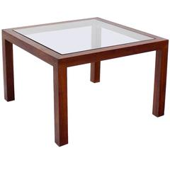 Walnut Square Occasional Glass Top Center Side Table
