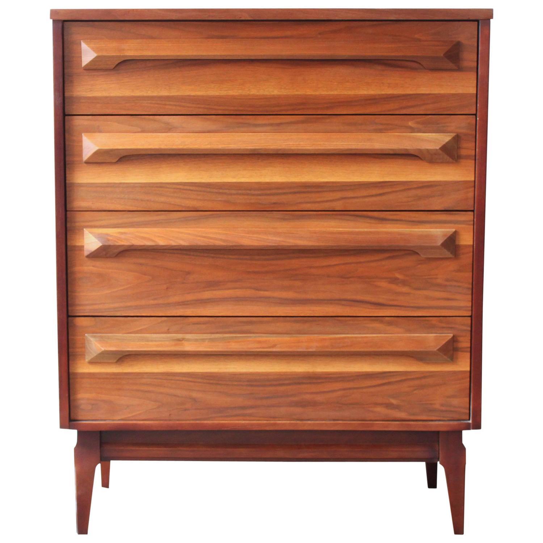 Mid Century American Walnut Dresser At 1stdibs