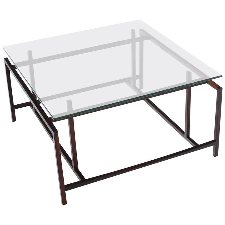 Square Rosewood Geometrical Base Glass Top Mid-Century Modern Coffee Table