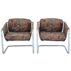 Pair of Postmodern Cantilevered Sling Form Lounge Chairs