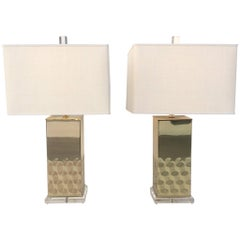 Polished Brass and Acrylic Table Lamps