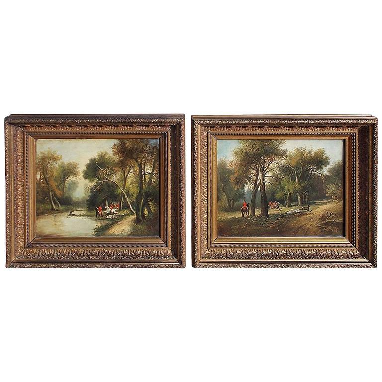 Pair of English Oil on Canvas Stag Hunt Paintings, Circa 1830