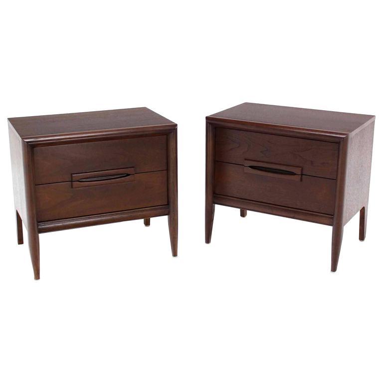 Pair of Walnut Mid-Century Nightstands