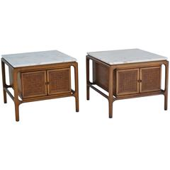 Pair of Sculptural Walnut and Marble Side Tables