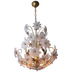 Gilded Brass and Glass Flower Chandelier