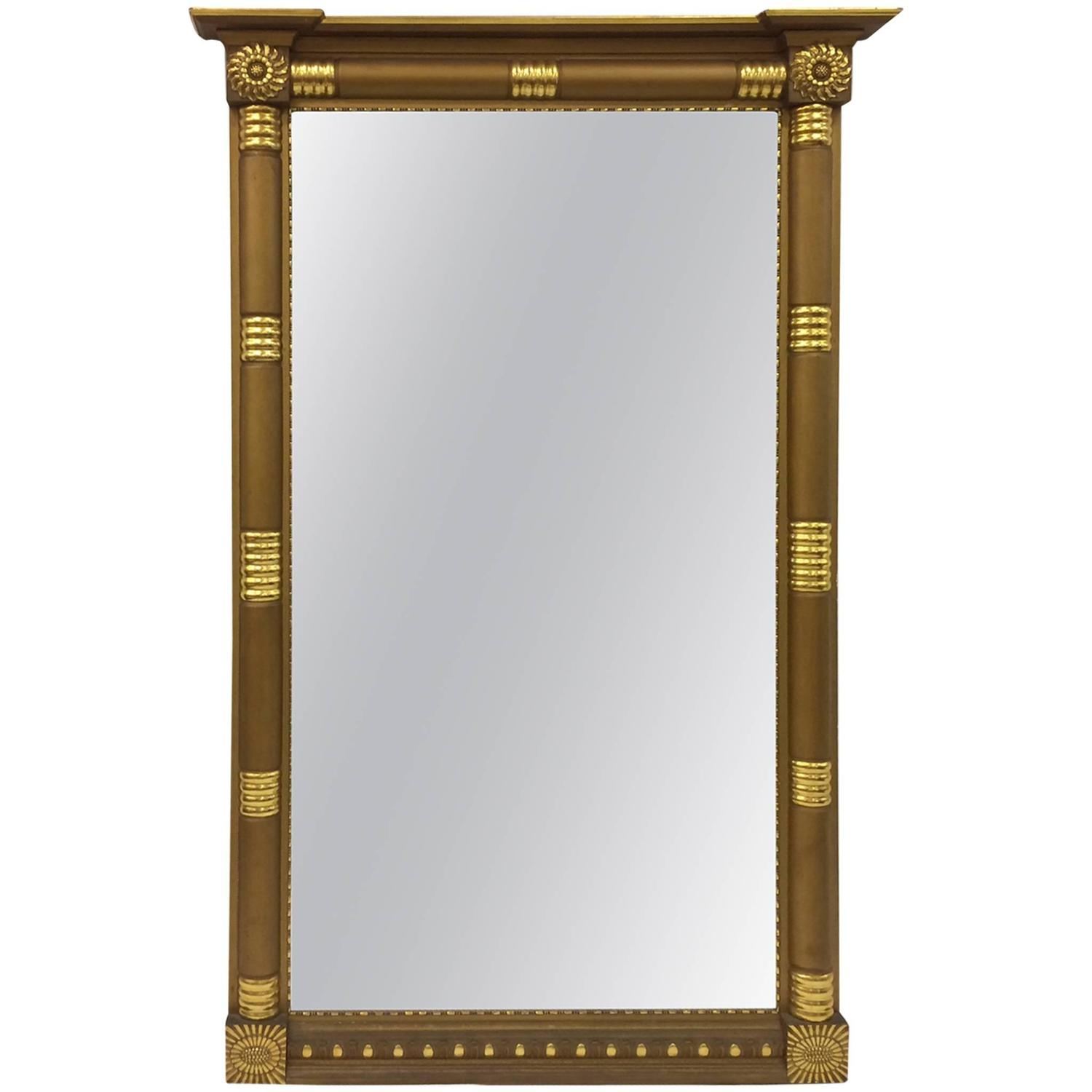 Very large early american gold wooden mantle mirror for Large wooden mirrors for sale