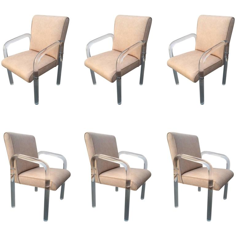 Set Of Six Acrylic And Leather Dining Chairs By Pace Collection For Sale At 1