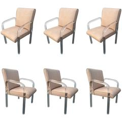 Set of Six Acrylic and Leather Dining Chairs by Pace Collection