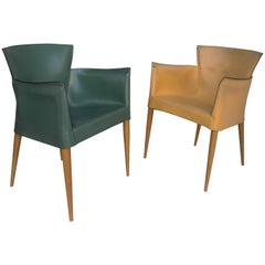 Pair of Carlo Bartoli for Matteo Grassi Leather Yellow and Green chairs, 1970s