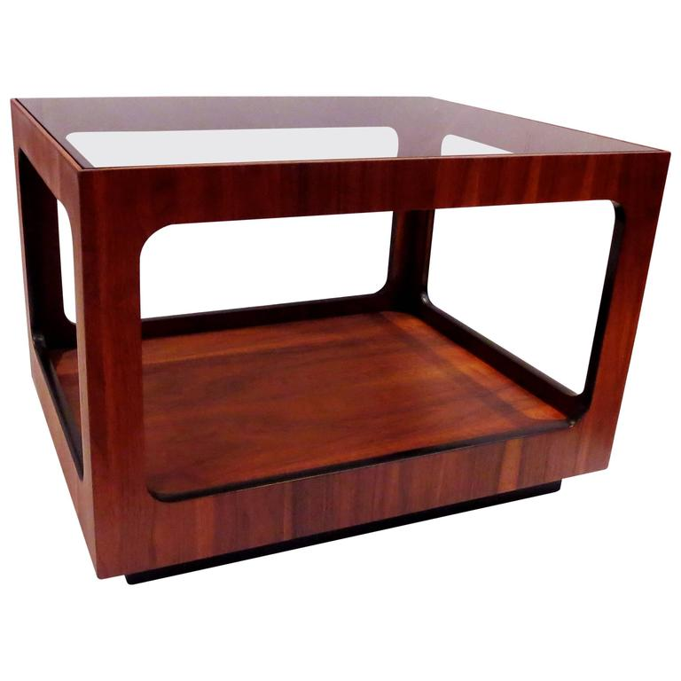 1970s California Modern Smoked Glass Walnut Cocktail Table By John Keal At 1stdibs