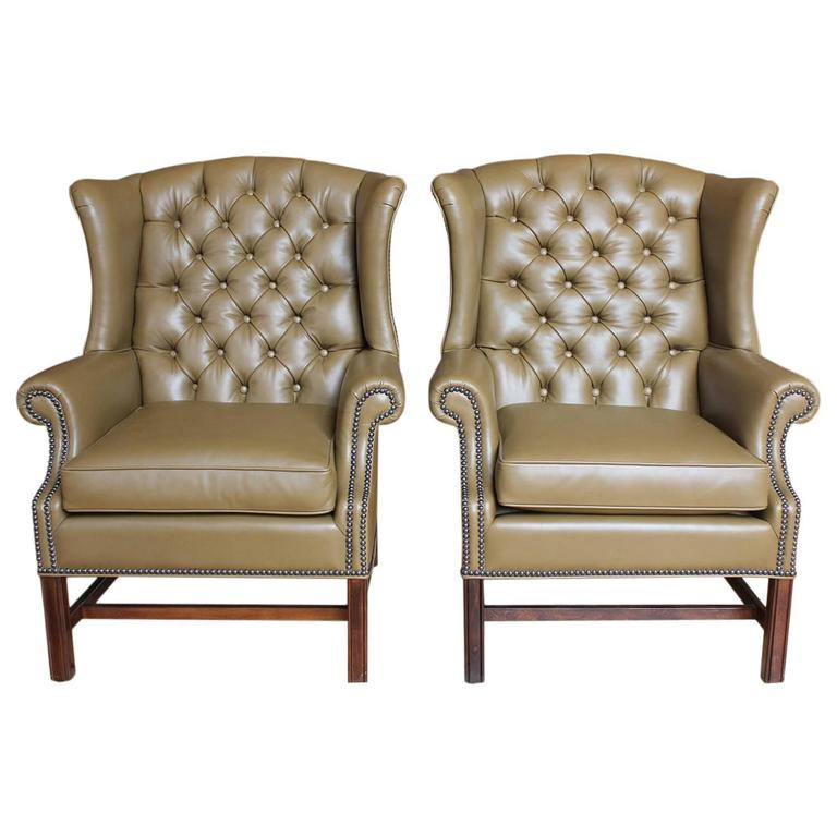 1920s American Library Tufted Leather Wing Chair