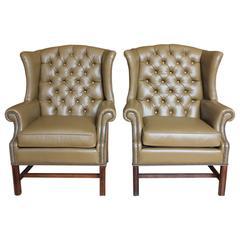 Fantastic Dark Umber Colored Leather Wing Chair For Sale At 1Stdibs Spiritservingveterans Wood Chair Design Ideas Spiritservingveteransorg