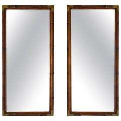 Pair of Wooden Faux Bamboo Mirrors