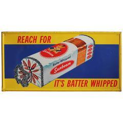 Original 1960s Metal Advertising Sign for Sunbeam Bread