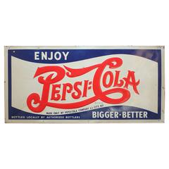 Large 1940s Embossed Metal Pepsi Cola Long Island City, NY Sign