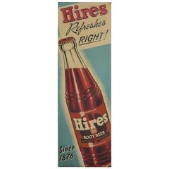 1930s Embossed Metal Advertising Hires Sign