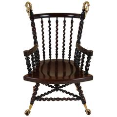 19th Century American Mahogany Armchair with Barley Twist Supports