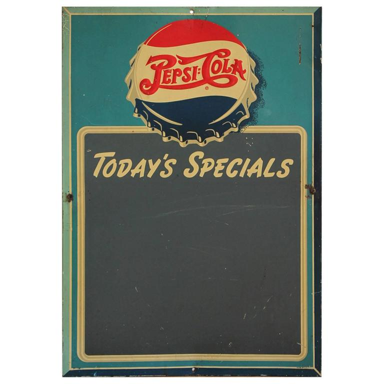 1950s Pepsi Cola Advertising Chalkboard Sign