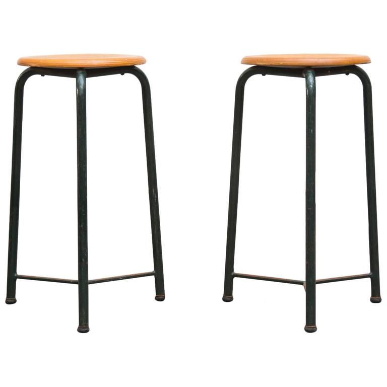 Pair Of Industrial Science Lab Stools At 1stdibs