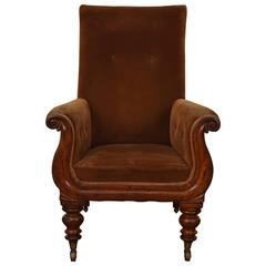 William IV Walnut Upholstered Armchair, England, circa 1835-1840
