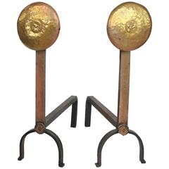 Stylish American Hand-Hammered Brass Andirons