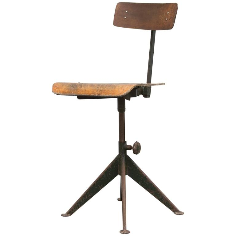 Jean Prouve Style Industrial Drafting Chair For Sale