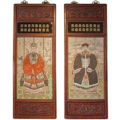 Pair of Chinese Ancestor Portraits in Carved Rosewood Frames