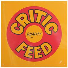 Modern 1970s Metal Sign, 'Critic Quality Feed'