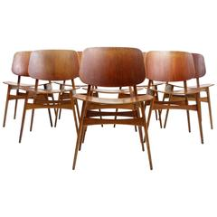 Set of Eight Danish Teak and Oak Dining Chairs by Borge Mogensen