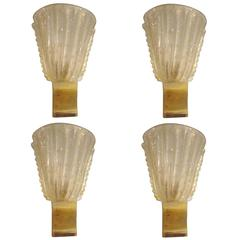Set of Four Rugiodoso Murano Glass Sconces