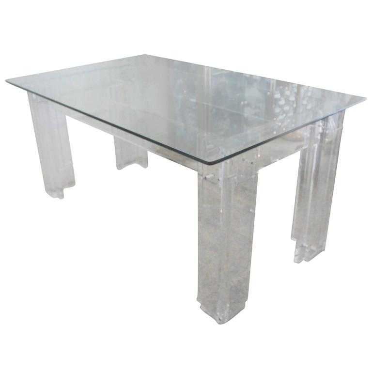Lucite Dining Table Desk Thick Hollywood Regency Monumental At 1stdibs